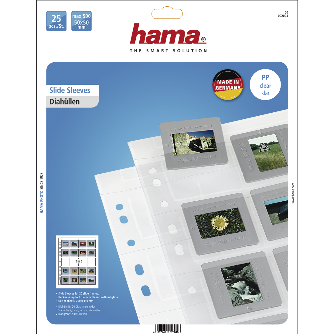 abx2 High-Res Image 2 - Hama, Slide Sleeves for 20 mounted slides with a size of 5x5 cm, 25 pieces