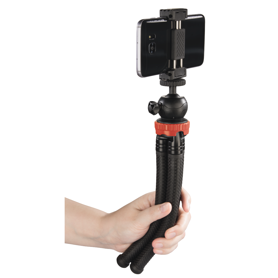 "abx5 High-Res Image 5 - Hama, ""FlexPro"" Tripod for Smartphone, GoPro and Photo Cameras, 27 cm, red"
