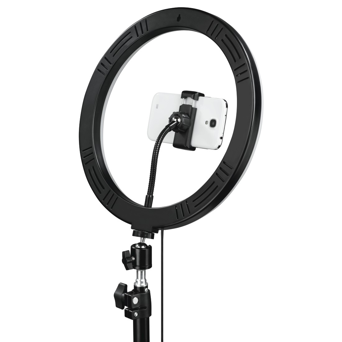 "dex4 High-Res Detail 4 - Hama, ""SpotLight Steady 120"" LED Ring Light, Set for Smartphone, Tripod, 12"""