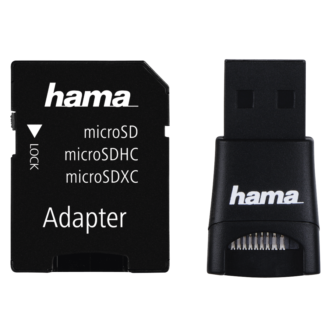 abx High-Res Image - Hama, USB 2.0 Card Reader + Adapter Kit, microSD, black