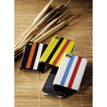 fam Product Family - Hama, Stripe Mobile Phone Cover for Apple iPhone 4, yellow/black/red