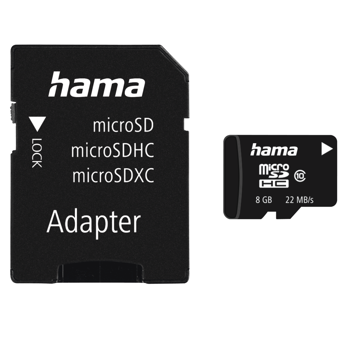 abx High-Res Image - Hama, microSDHC 8GB Class 10 22MB/s + Adapter / Mobile