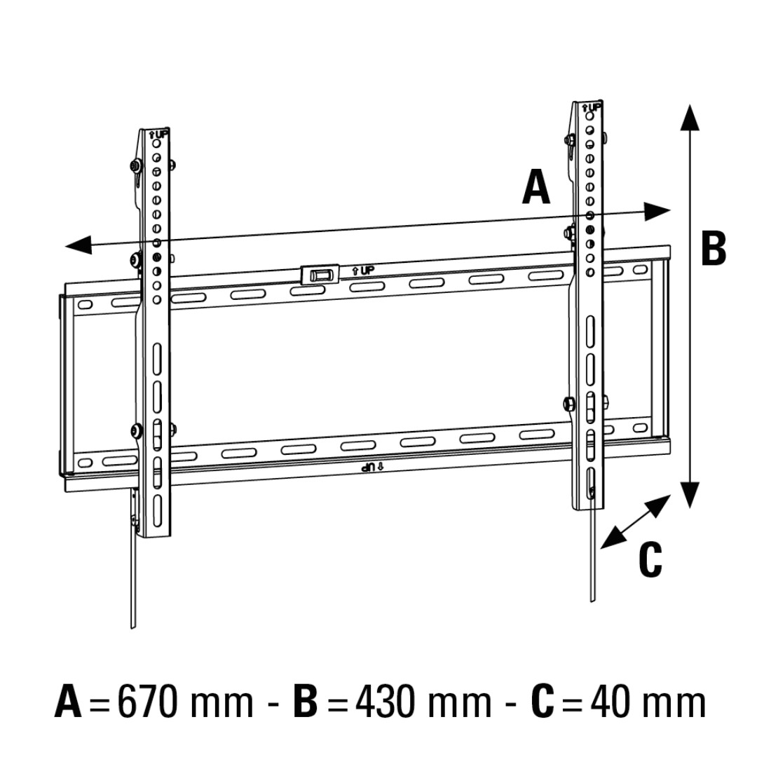 stx High-Res Line Drawing - Hama, MOTION TV Wall Bracket, 1 star, XL, 142 cm (56), black