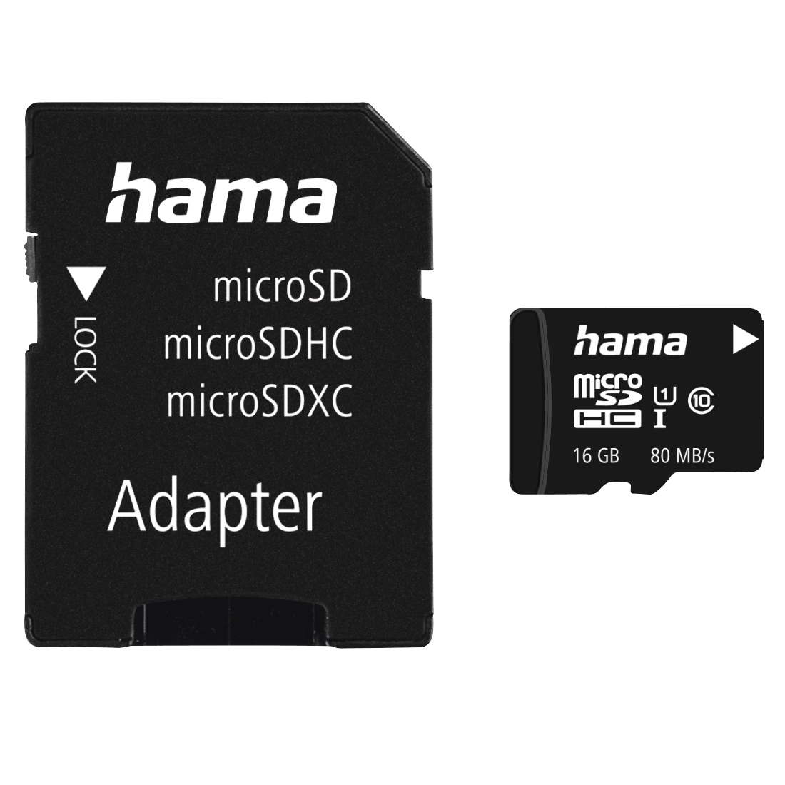 abx High-Res Image - Hama, microSDHC 16GB Class 10 UHS-I 80MB/s + Adapter/Mobile