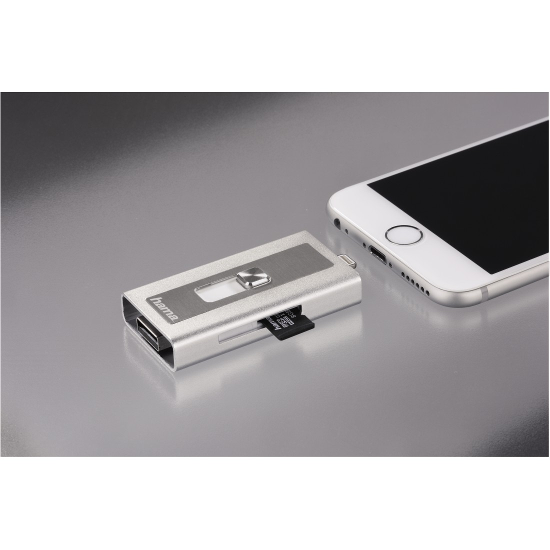 awx High-Res Appliance - Hama, MoveData Lightning USB Card Reader, microSD, silver