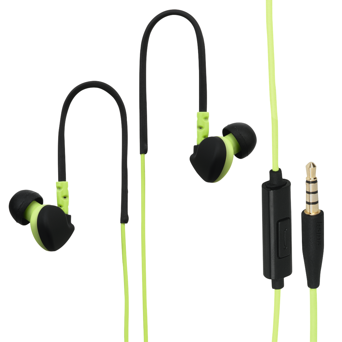 abx High-Res Image - Hama, Run Clip-On Sport Earphones, black/green