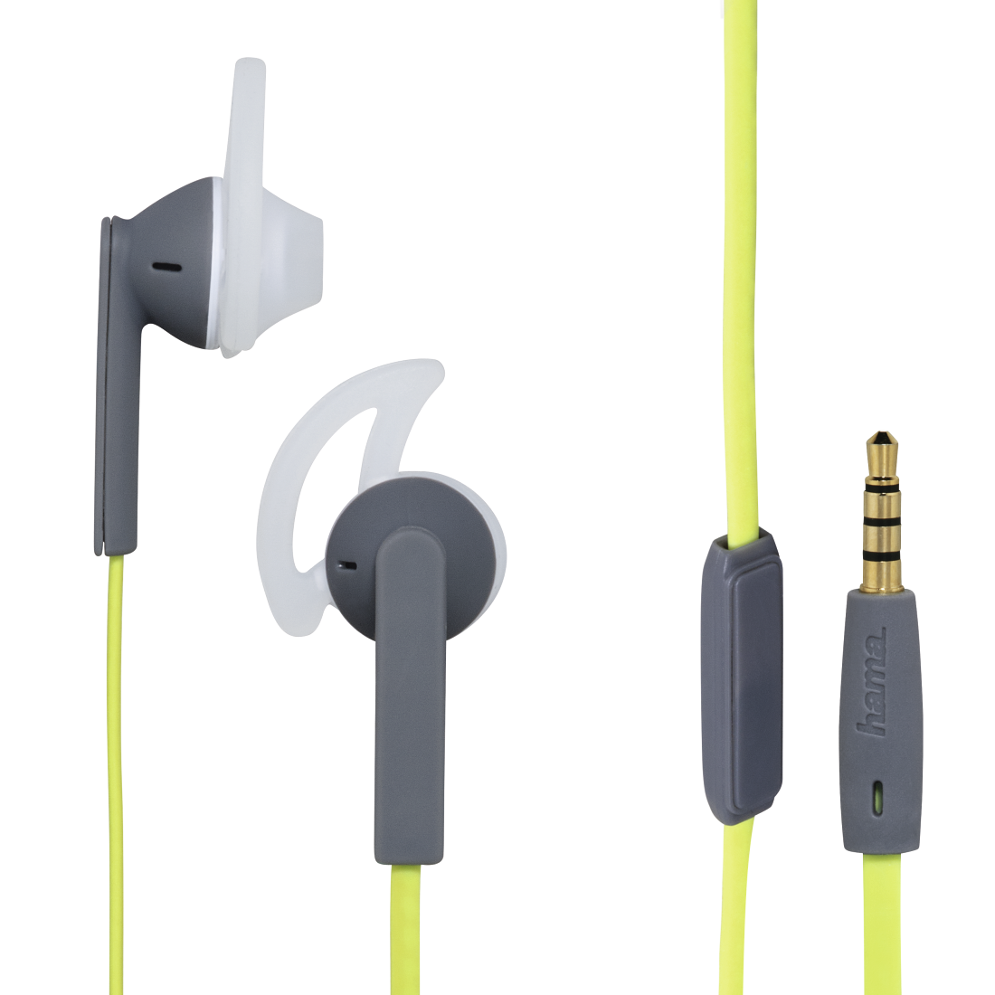 abx High-Res Image - Hama, Action + Stereo Earphones, green/grey