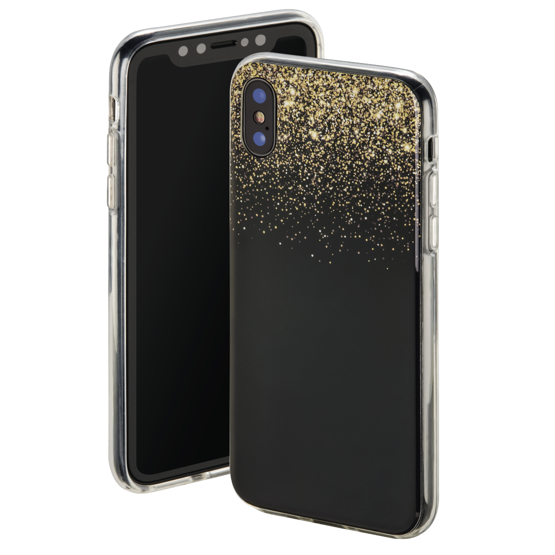 "abx High-Res Image - Hama, ""Golden Rain"" Cover for Apple iPhone X, black/gold"