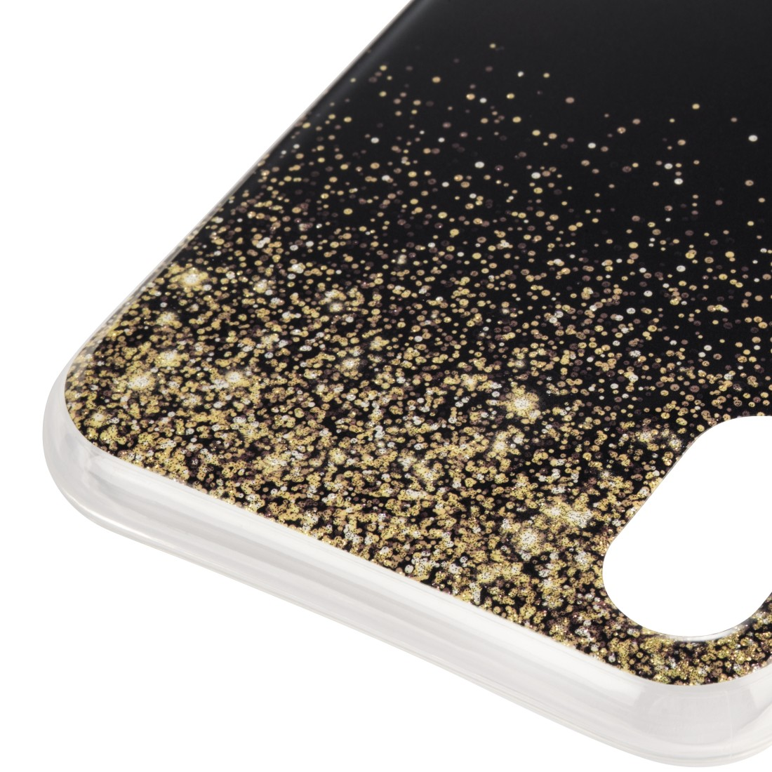 "dex High-Res Detail - Hama, ""Golden Rain"" Cover for Apple iPhone X, black/gold"