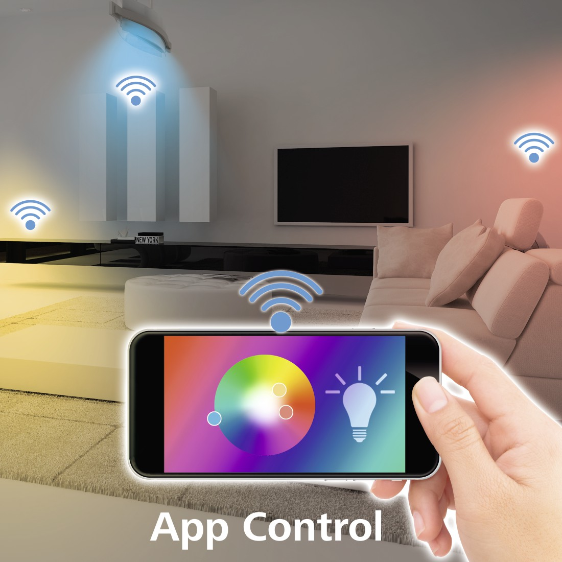 "awx High-Res Appliance - Hama, ""Design"" Smart Home Ceiling Light, without Hub, Voice / App Control, metal"