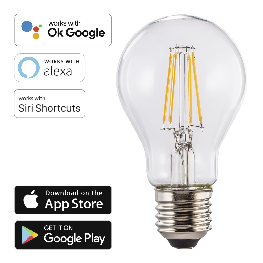 dex High-Res Detail - Hama, WiFi LED Filament, E27, 7W, warm white, dimmable
