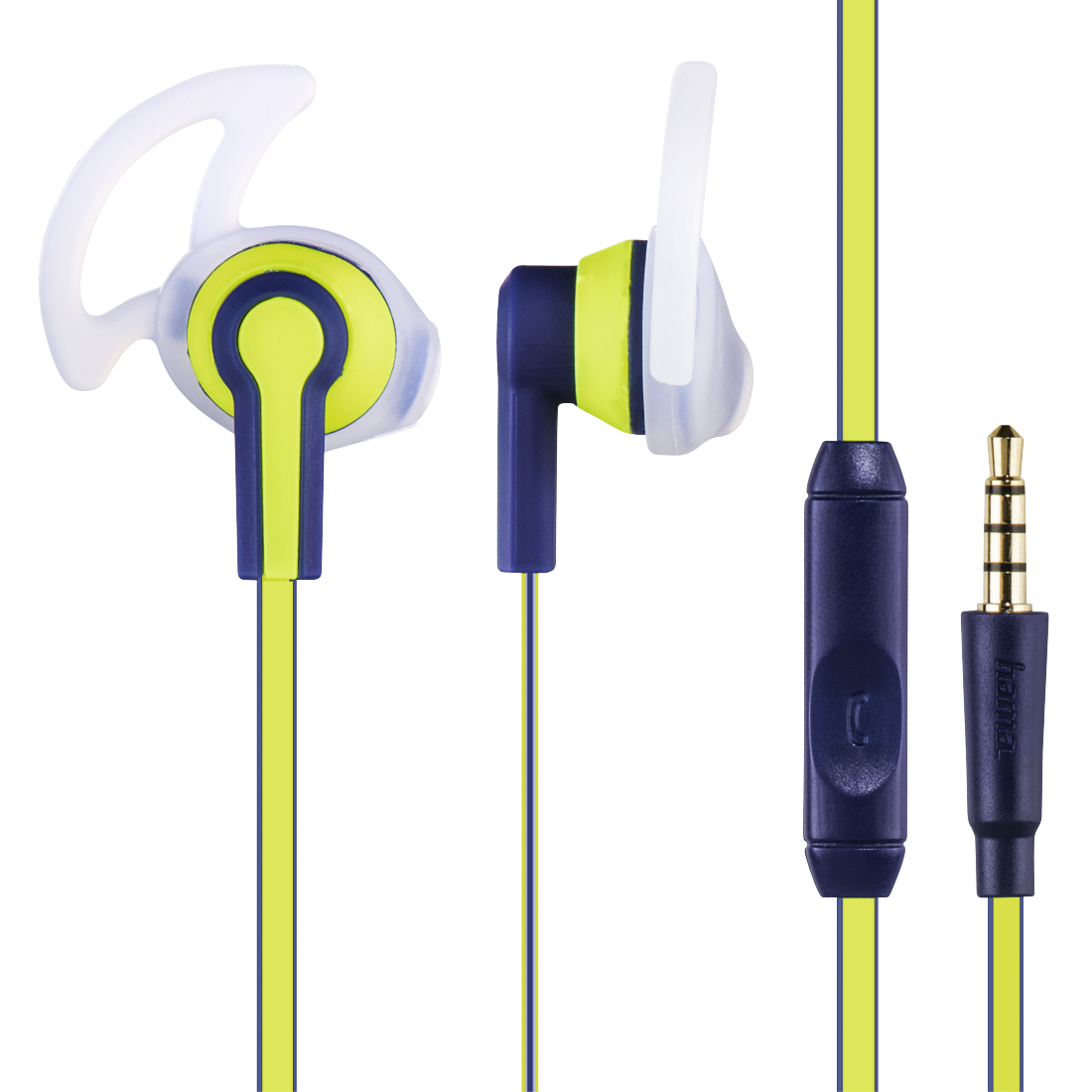 "abx High-Res Image - Hama, ""Reflective"" Stereo Earphones, blue/yellow"