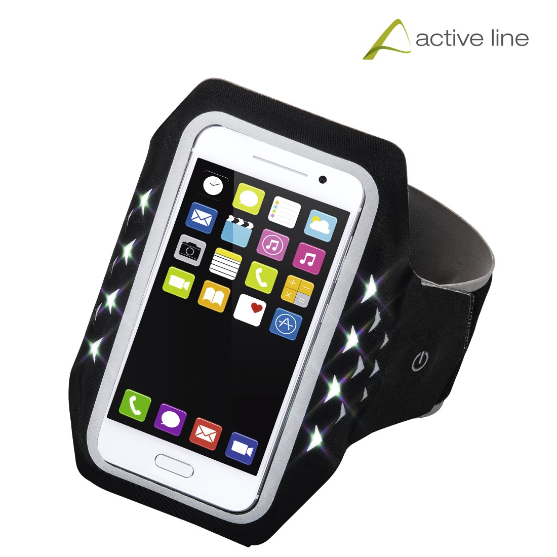 "uax Printable Image Logo - Hama, ""Running"" Sports Arm Band for Smartphones, Size XL, with LED, black"