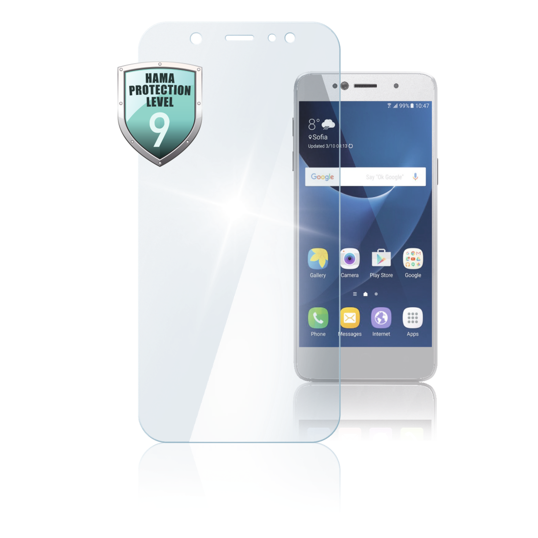 "abx High-Res Image - Hama, ""Premium Crystal Glass"" Real Glass Screen Protect. Samsung Galaxy A8 (2018)"