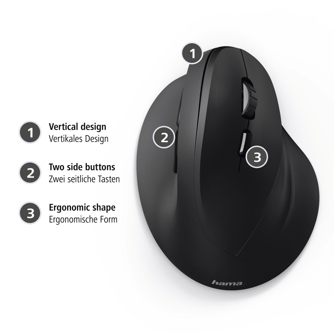 dex2 High-Res Detail 2 - Hama, Vertical, Ergonomic EMC-500 Mouse, Cabled, 6 Buttons, black