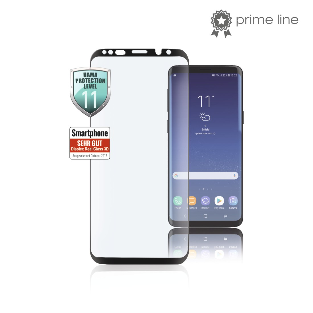 uax Printable Image Logo - Hama, 3D Full-Screen Protective Glass for Samsung Galaxy S8+, black