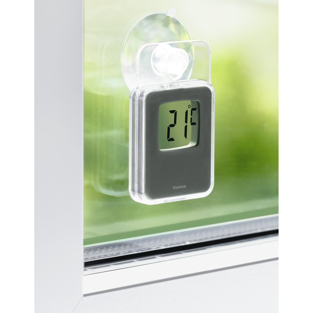 awx High-Res Appliance - Hama, Window Thermometer for Indoors and Outdoors, Digital, 7.5 x 4.6 cm, grey