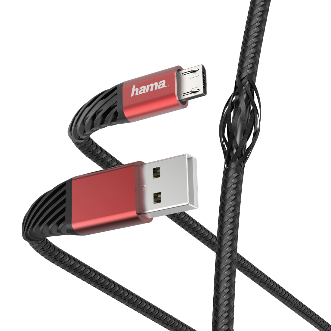 "abx High-Res Image - Hama, ""Extreme"" Charging/Data Cable, USB-A - Micro-USB, 1.5 m, black/red"
